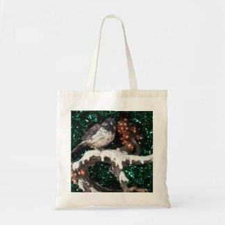 Escena del invierno del pájaro del bolso bolsa tela barata
