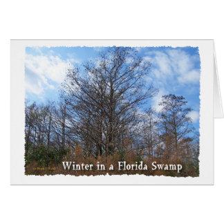 Escena del invierno del pantano de la Florida Cypr Felicitaciones