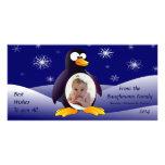 Escena del invierno del pingüino tarjeta con foto personalizada