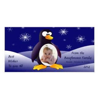 Escena del invierno del pingüino tarjetas fotograficas personalizadas