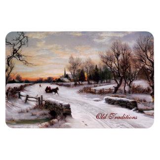 Escena del invierno del vintage. Imán del regalo d