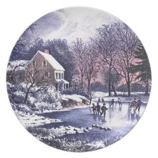 Escena del invierno del vintage. Placa del regalo  Plato