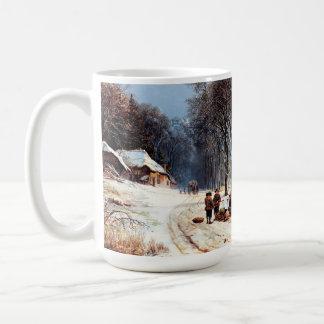 Escena del invierno del vintage Taza del regalo d