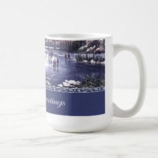 Escena del invierno del vintage Taza del regalo