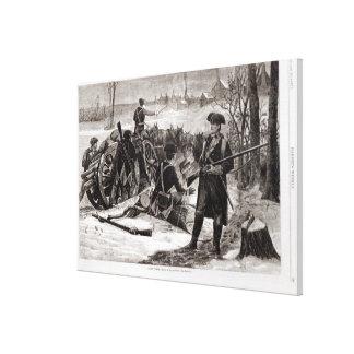 Escena del invierno en el acampamento continental  lona envuelta para galerías