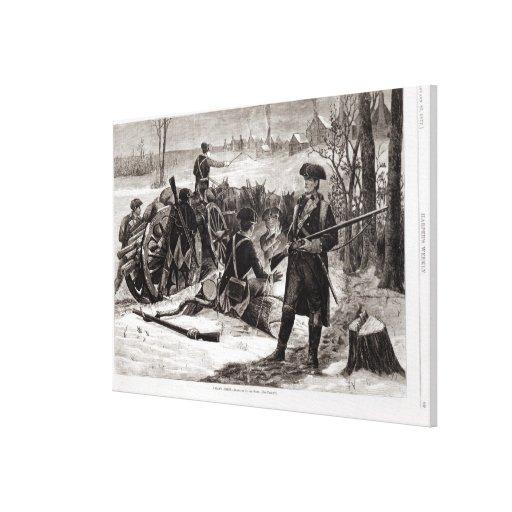 Escena del invierno en el acampamento continental  impresión en lona estirada