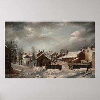 Escena del invierno en el individuo de Brooklyn - Póster