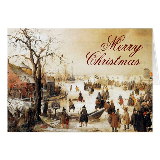Escena del invierno en navidad del canal de un tarjeta de felicitación