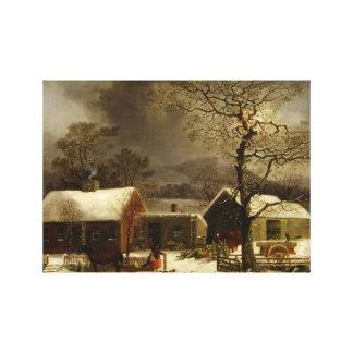 Escena del invierno en New Haven CT por Durrie Impresión En Lona Estirada