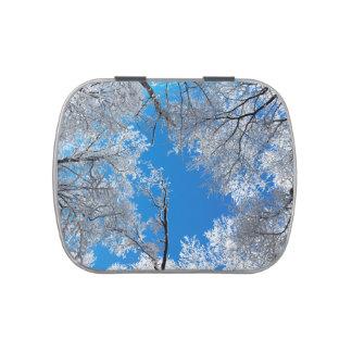 Escena del invierno Nevado Jarrones De Caramelos
