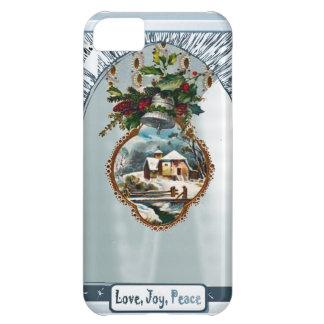 Escena del invierno, paz de la alegría del amor funda para iPhone 5C