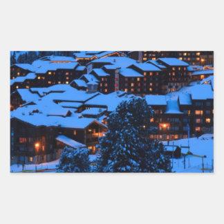 Escena del invierno rectangular pegatinas