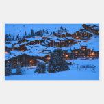 Escena del invierno rectangular pegatina
