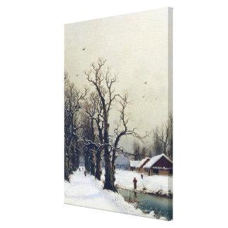 Escena del invierno, siglo XIX Lona Estirada Galerias