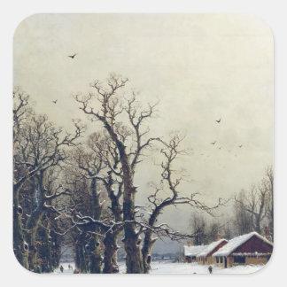 Escena del invierno, siglo XIX Pegatina Cuadradas Personalizadas