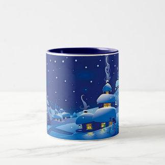 Escena del invierno taza de dos tonos