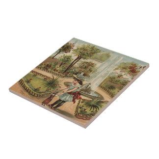 Escena del jardín del país del estilo del vintage azulejo cuadrado pequeño