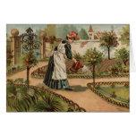 Escena del jardín del país del estilo del vintage tarjeta de felicitación