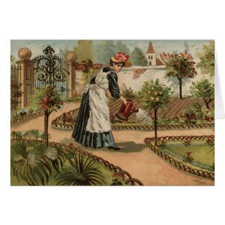 Escena del jardín del país del estilo del vintage felicitaciones