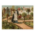 Escena del jardín del país del estilo del vintage postal