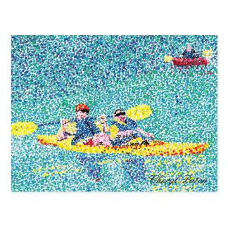 Escena del kajak del Pointillism en el río Postal
