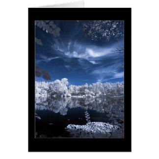 escena del lago del invierno felicitación