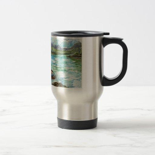 Escena del lago - lápiz de la acuarela taza de viaje de acero inoxidable