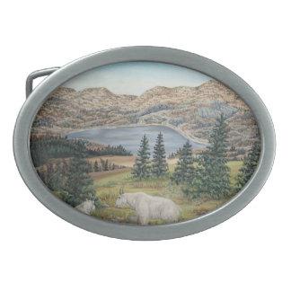 Escena del lago mountain del arte de la fauna de l hebillas de cinturón ovales