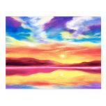 Escena del lago sunset del paisaje - multi postal