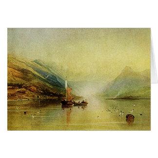 Escena del lago - tarjeta de la pintura de la acua