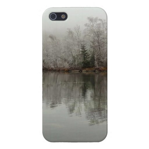 Escena del lago y del árbol winter de Austria iPhone 5 Protectores