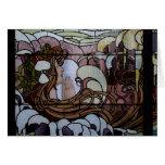 Escena del mar de Nouveau del arte del vitral Felicitacion
