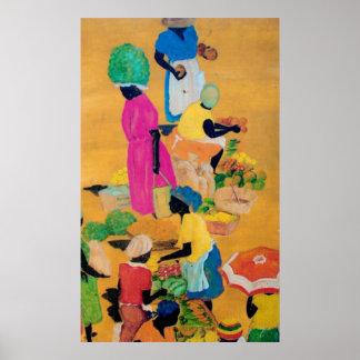 Escena del mercado de Grenada Posters