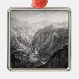 Escena del mesón en el puente del diablo con la adorno navideño cuadrado de metal