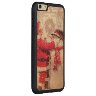 Escena del muñeco de nieve de Santa del vintage Funda De Arce Bumper Carved® Para iPhone 6 Plus