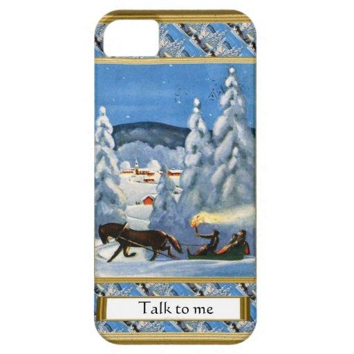 """Escena del navidad de la imagen del vintage, """"char iPhone 5 protector"""