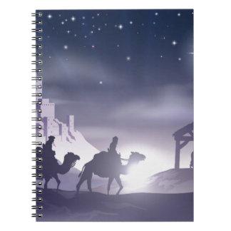 Escena del navidad de la natividad libro de apuntes con espiral