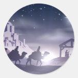 Escena del navidad de la natividad etiquetas redondas