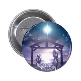 Escena del navidad de la natividad pin redondo de 2 pulgadas
