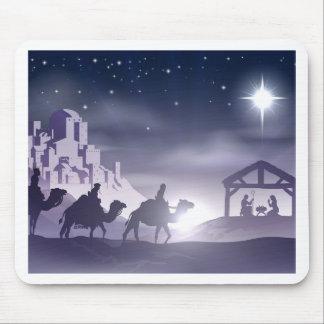 Escena del navidad de la natividad tapetes de ratón