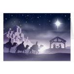 Escena del navidad de la natividad tarjetón
