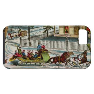 Escena del navidad de los días de invierno funda para iPhone SE/5/5s