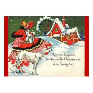 Escena del navidad del art déco tarjeta de visita