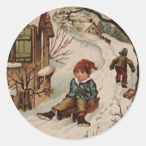 Escena del navidad del estilo del vintage pegatinas redondas