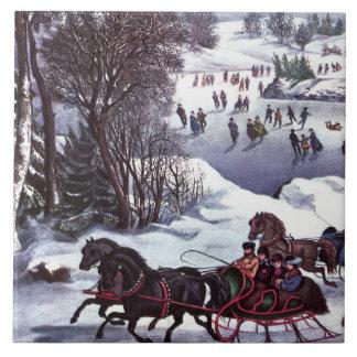 Escena del navidad del invierno. Tejas del regalo