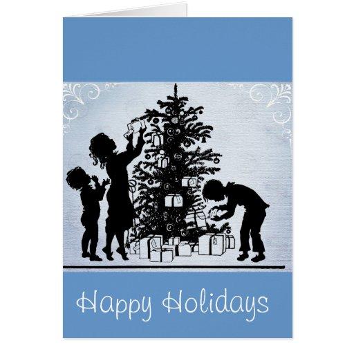 Escena del navidad del vintage en tarjeta de felic