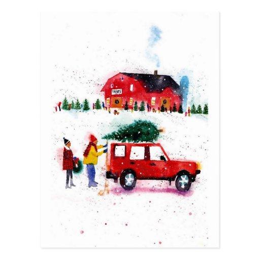 Escena del navidad tarjetas postales