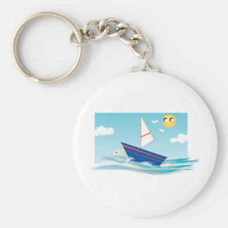 Escena del océano con el velero llaveros