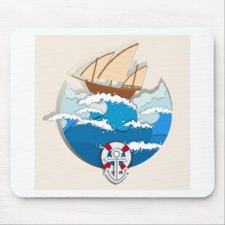 Escena del océano con el velero tapete de ratones