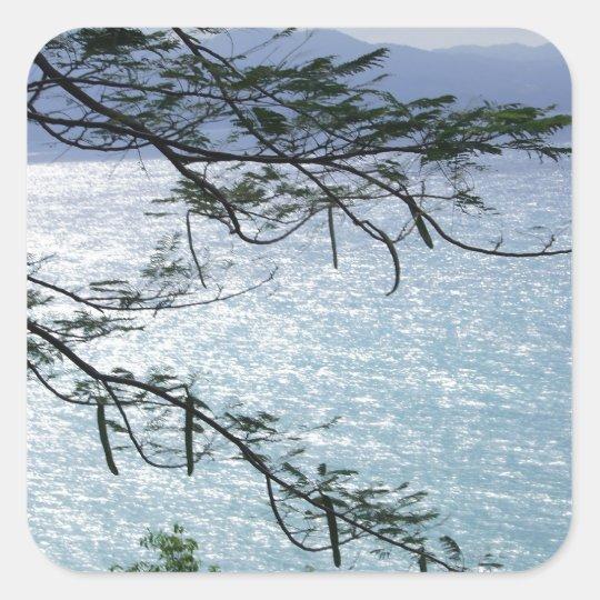 Escena del océano de Jamaica Pegatina Cuadrada